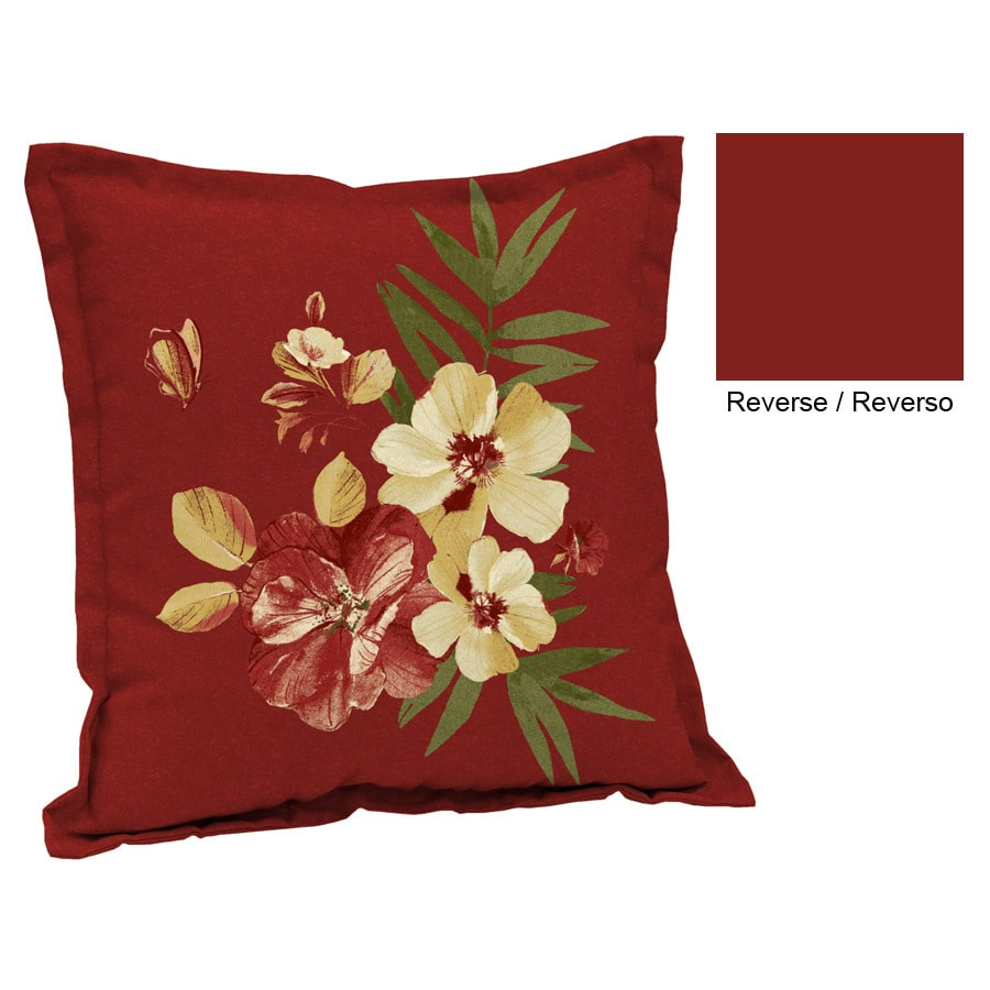 Garden Treasures Floral Red Tropical UV Protected Square Outdoor Decorative  Pillow