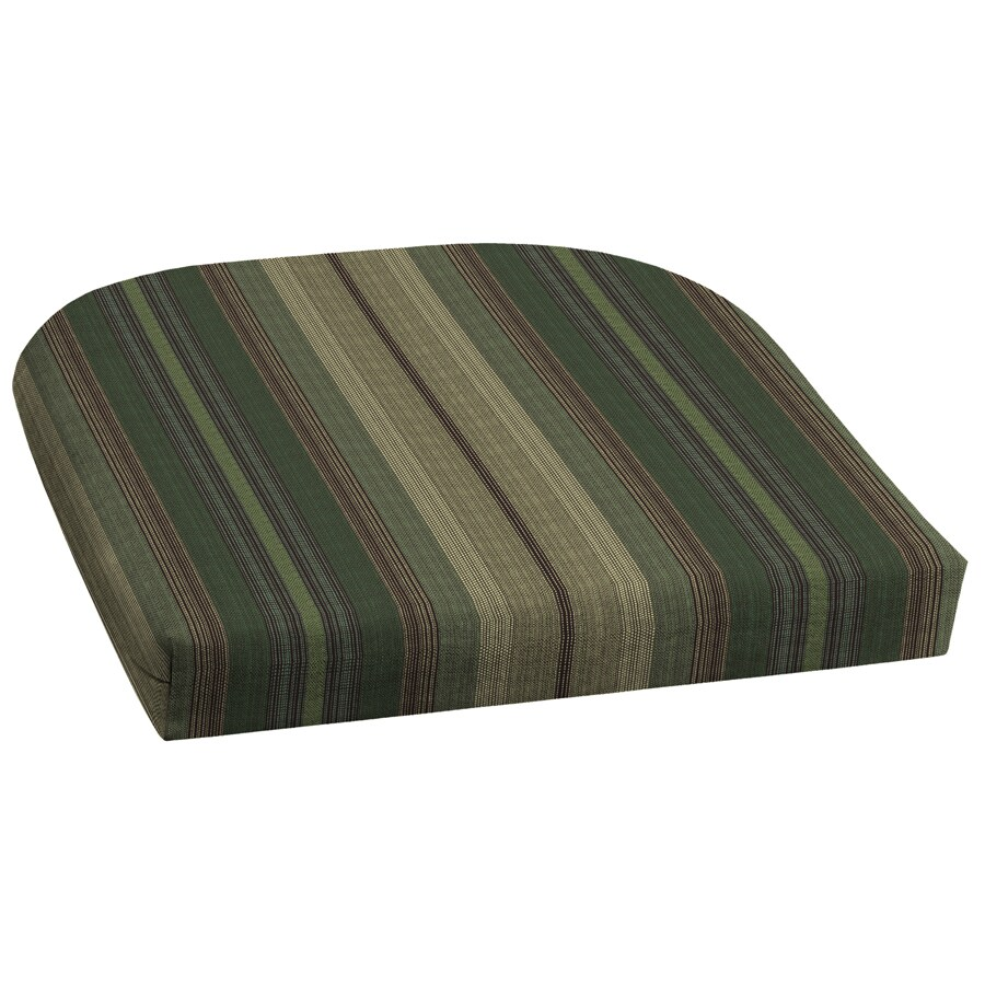 Garden Treasures 18-in L x 20-in W Stripe Green Patio Chair Cushion