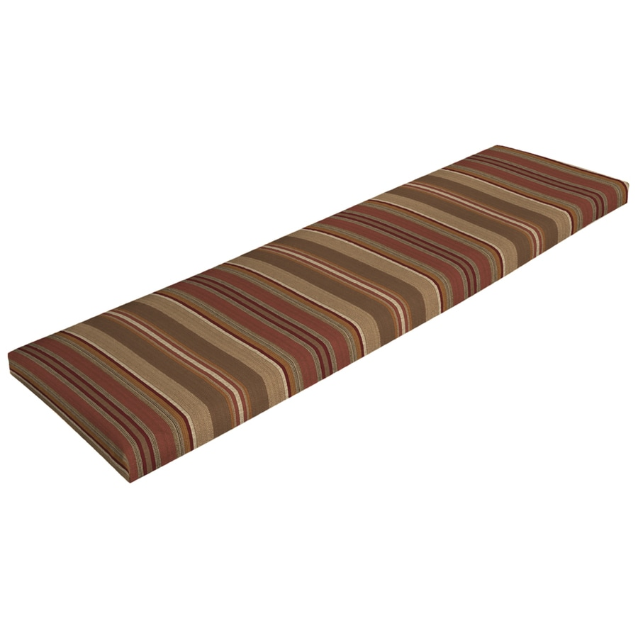 Shop Allen Roth Stripe Chili Stripe Chili Stripe Patio Bench Cushion For Patio Bench At