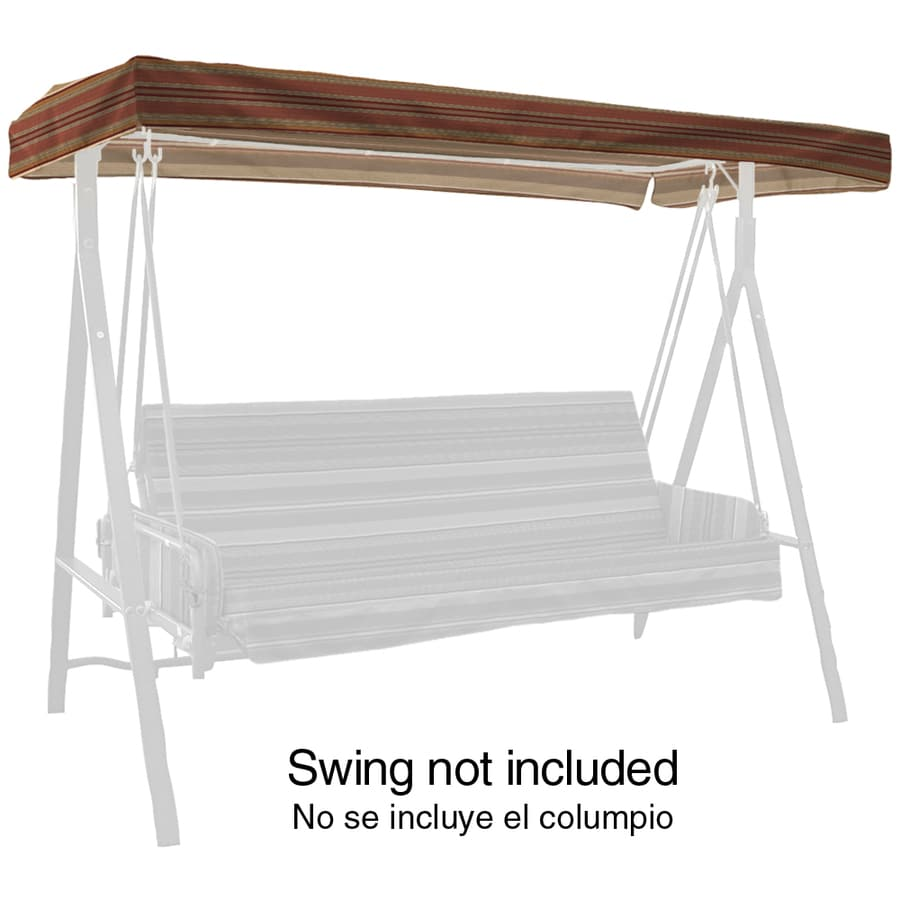 Arden Outdoor Stripe Chili 3-Person Replacement Top for Porch Swing or Glider