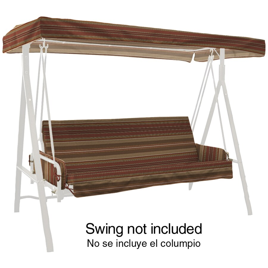 allen + roth Stripe Chili Stripe Chili Stripe Porch Swing Cushion for Porch Swing