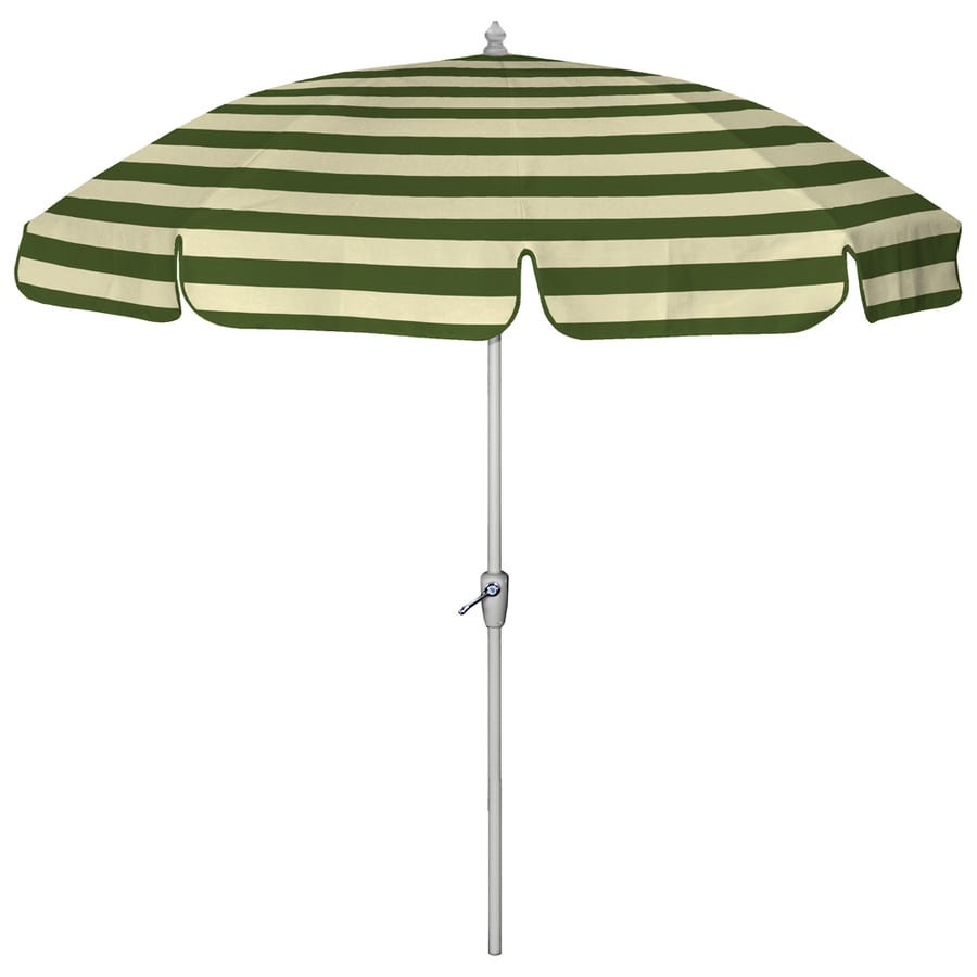 7 6 Dark Green Wide Striped Round Patio Umbrella
