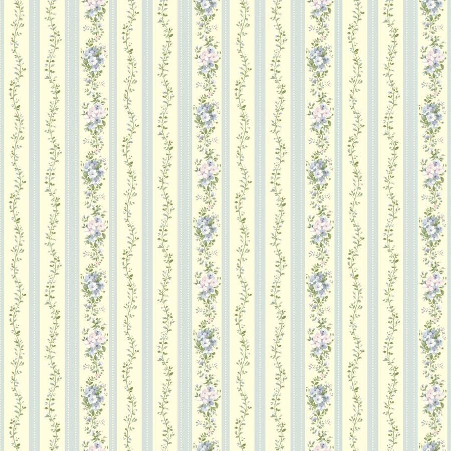 Inspired By Color Yellow and Blue Paper Floral Stripe Wallpaper