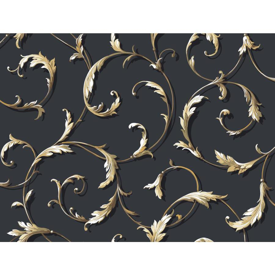 York Wallcoverings Black and White Book Gold and Black Paper Textured Scroll Wallpaper