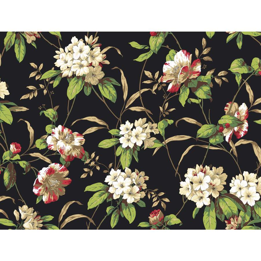 Inspired By Color Black, White and Green Paper Floral Wallpaper