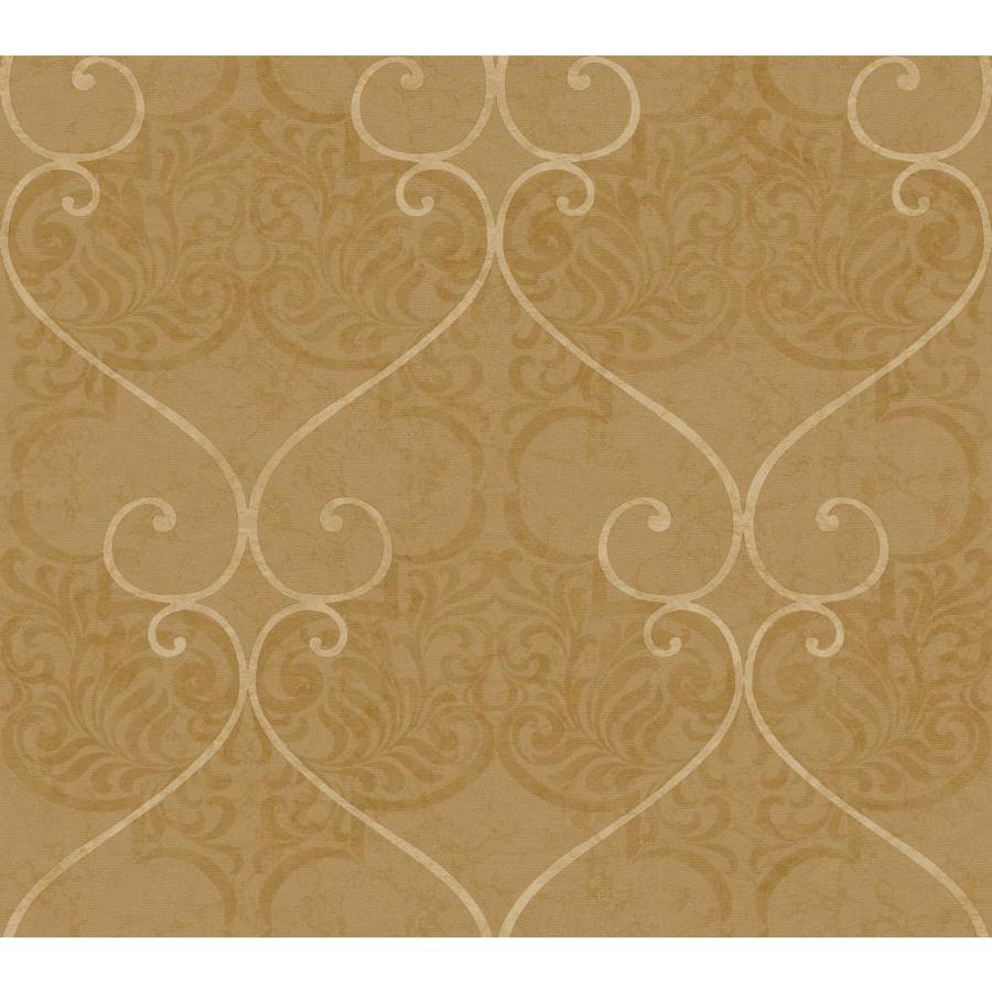 Inspired By Color Metallics Book Tan Paper Textured Damask Wallpaper