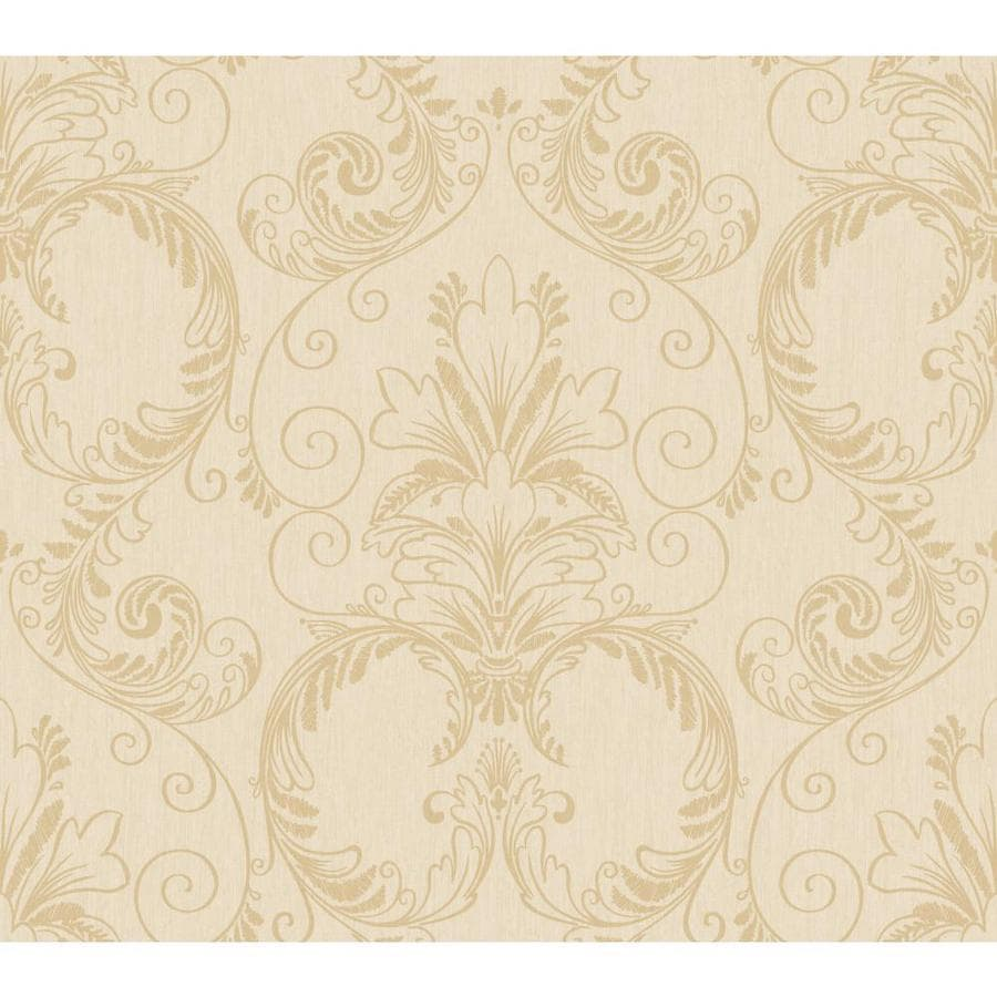 Inspired By Color Metallics Book Tan and Beige Paper Textured Damask Wallpaper