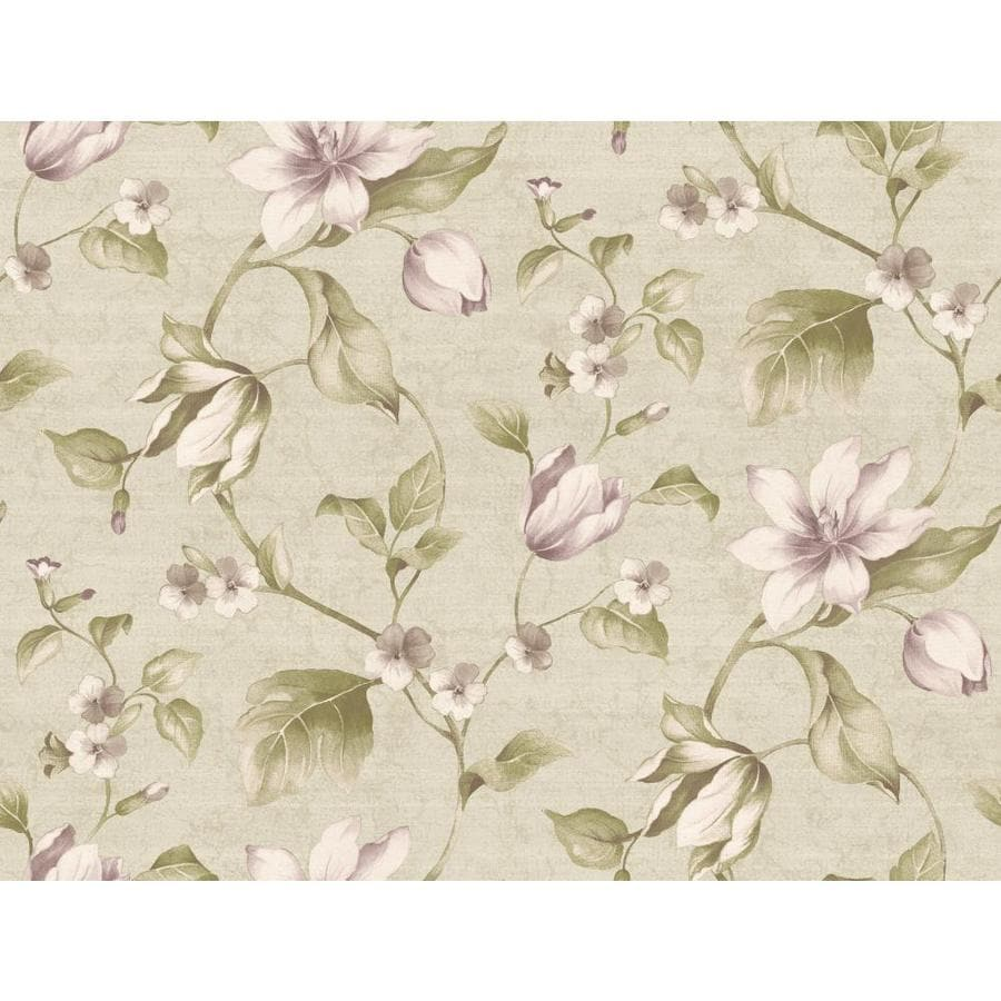 Inspired By Color Green and Purple Paper Floral Wallpaper