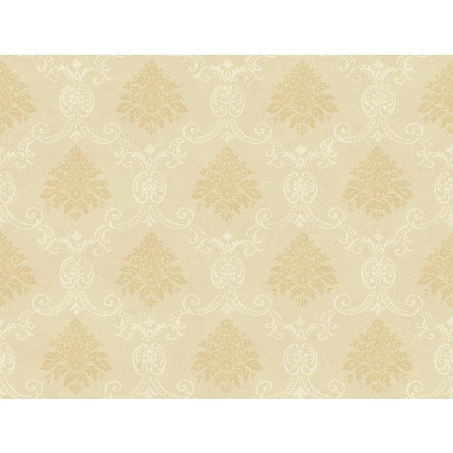 York Wallcoverings Beige Book Peach Paper Damask Wallpaper