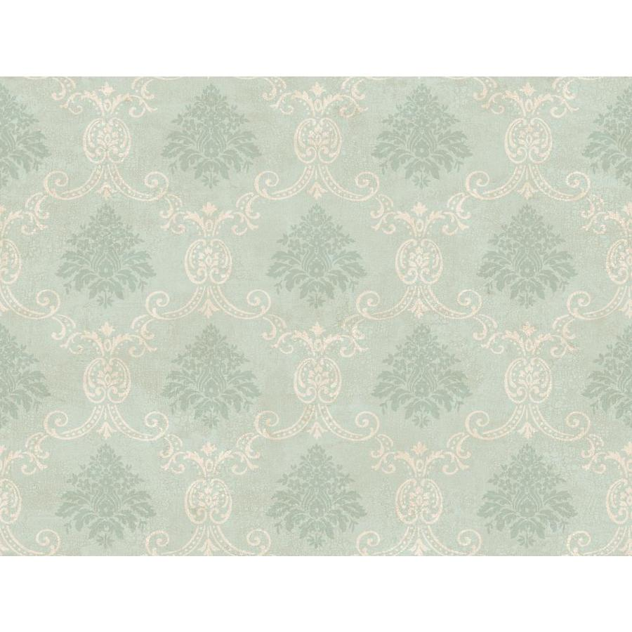 Inspired By Color Green and Ivory Paper Damask Wallpaper