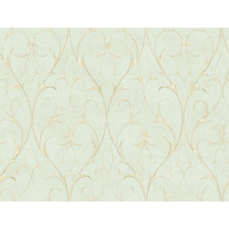 Inspired By Color Green Book Green and Ivory Paper Scroll Wallpaper