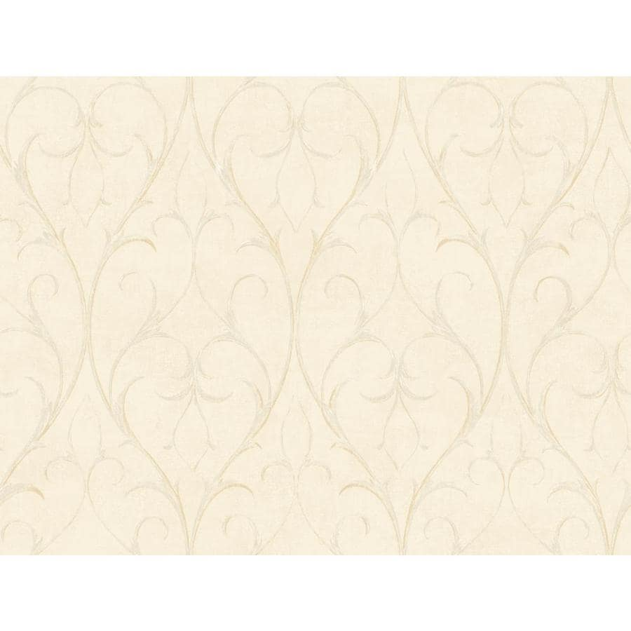 York Wallcoverings Beige Book Cream Paper Scroll Wallpaper
