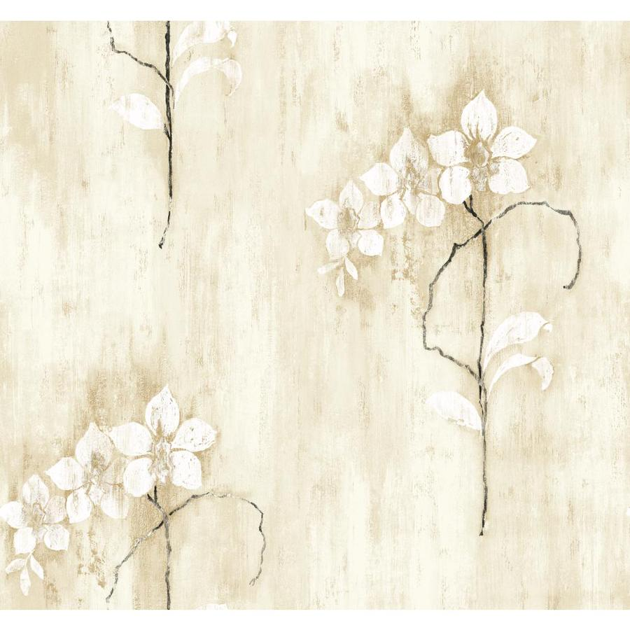 Inspired By Color Black and White Book Tan, Black and White Paper Floral Wallpaper