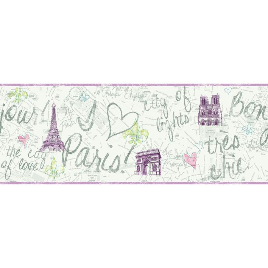 Inspired By Color 9-in Purple Prepasted Wallpaper Border