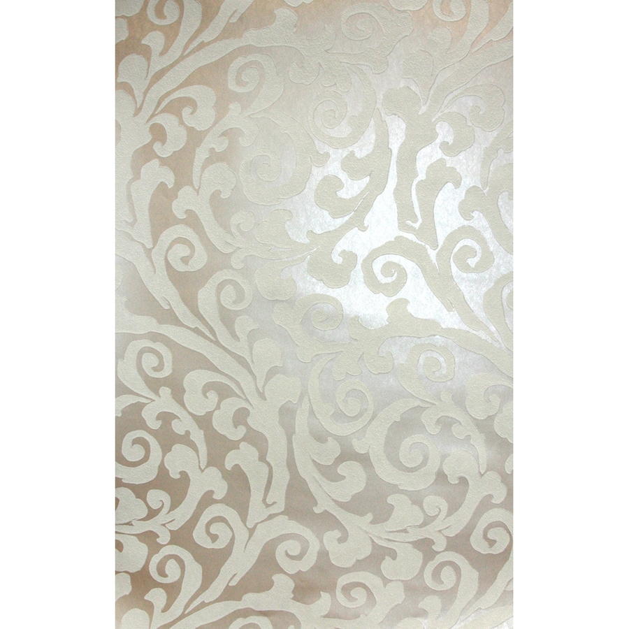 Allen Roth Beige And White Strippable Paper Prepasted Textured Wallpaper