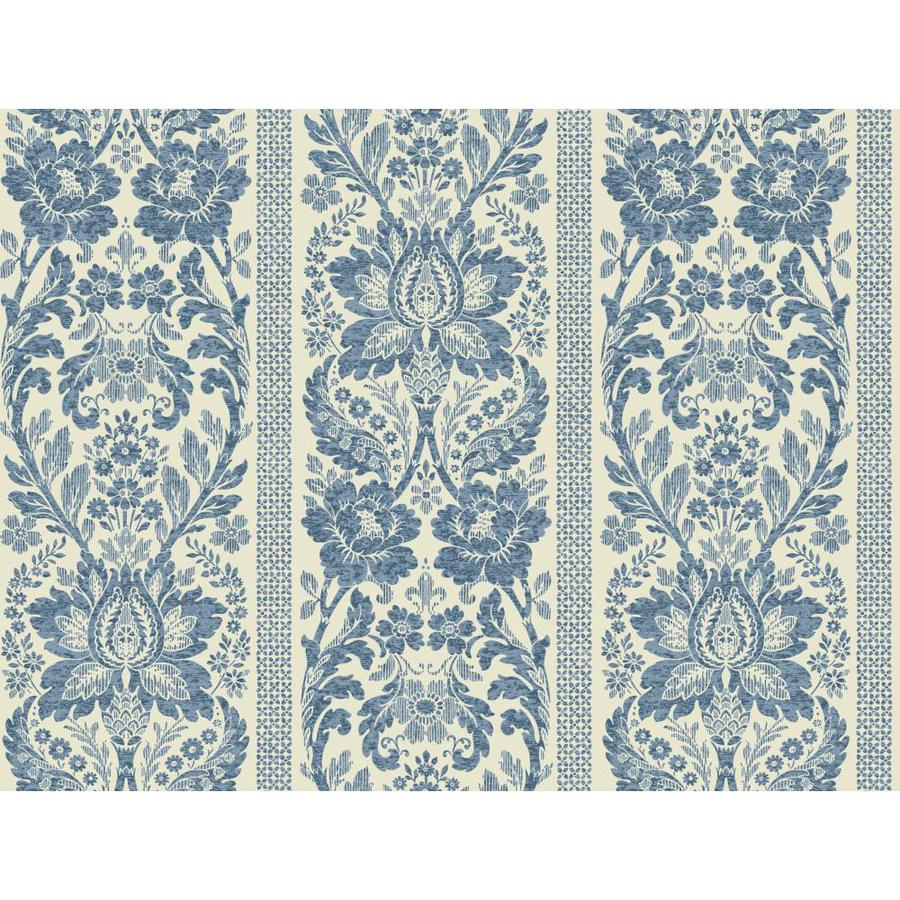 Inspired By Color Blue Book Blue and Off-White Paper Textured Damask Wallpaper
