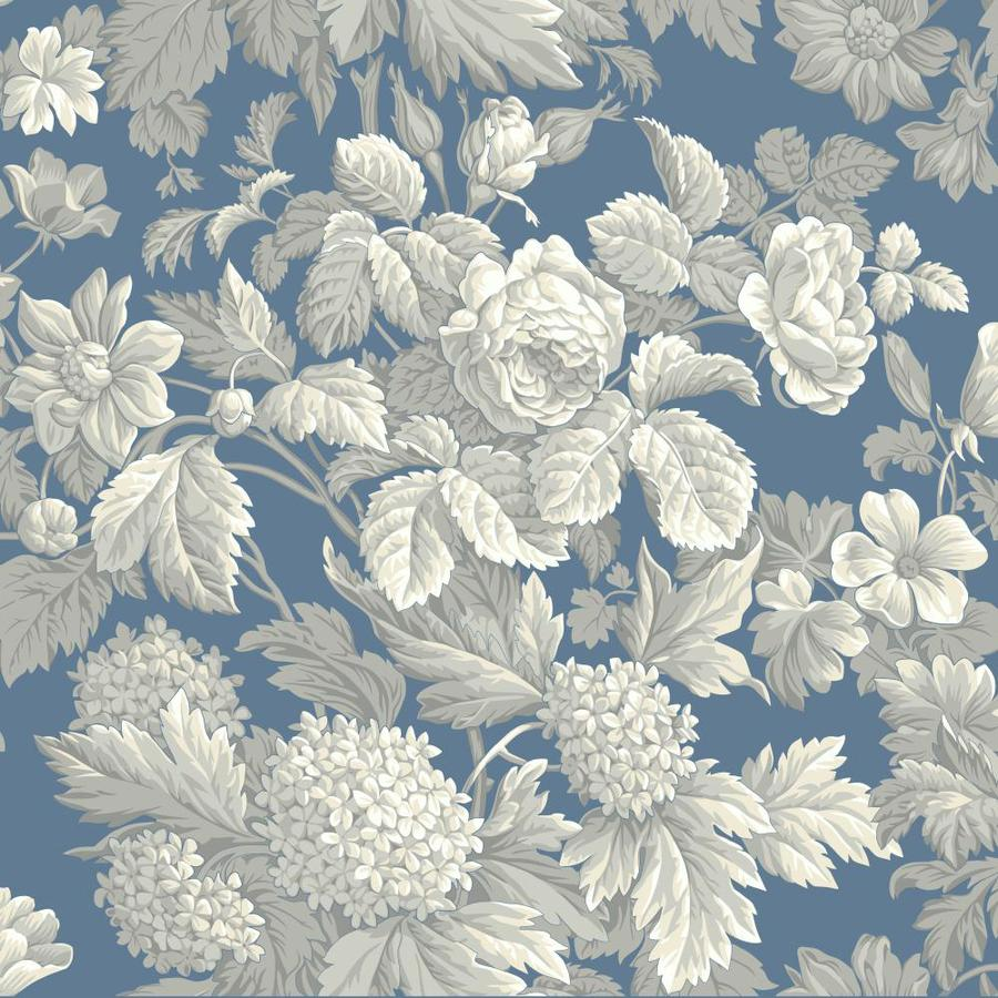 Inspired By Color Blue Book Blue and White Paper Textured Floral Wallpaper