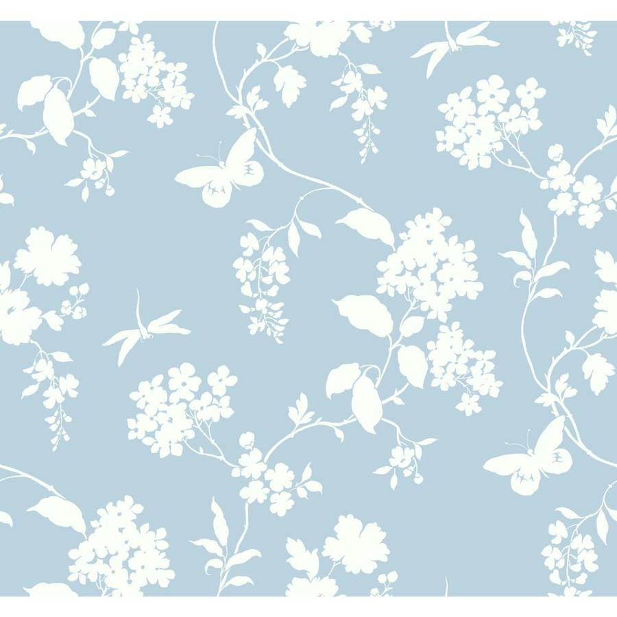 Inspired By Color Ashford Sihouettes Blue and White Paper Scenic Wallpaper
