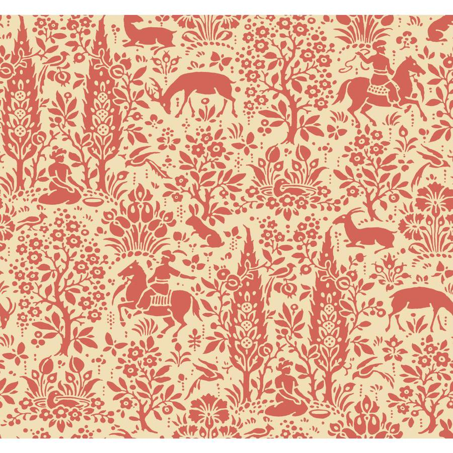 Inspired By Color Ashford Sihouettes Red and Cream Paper Toile Wallpaper