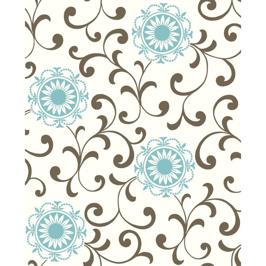 Inspired By Color Ashford Sihouettes Blue, Brown and White Paper Abstract Wallpaper
