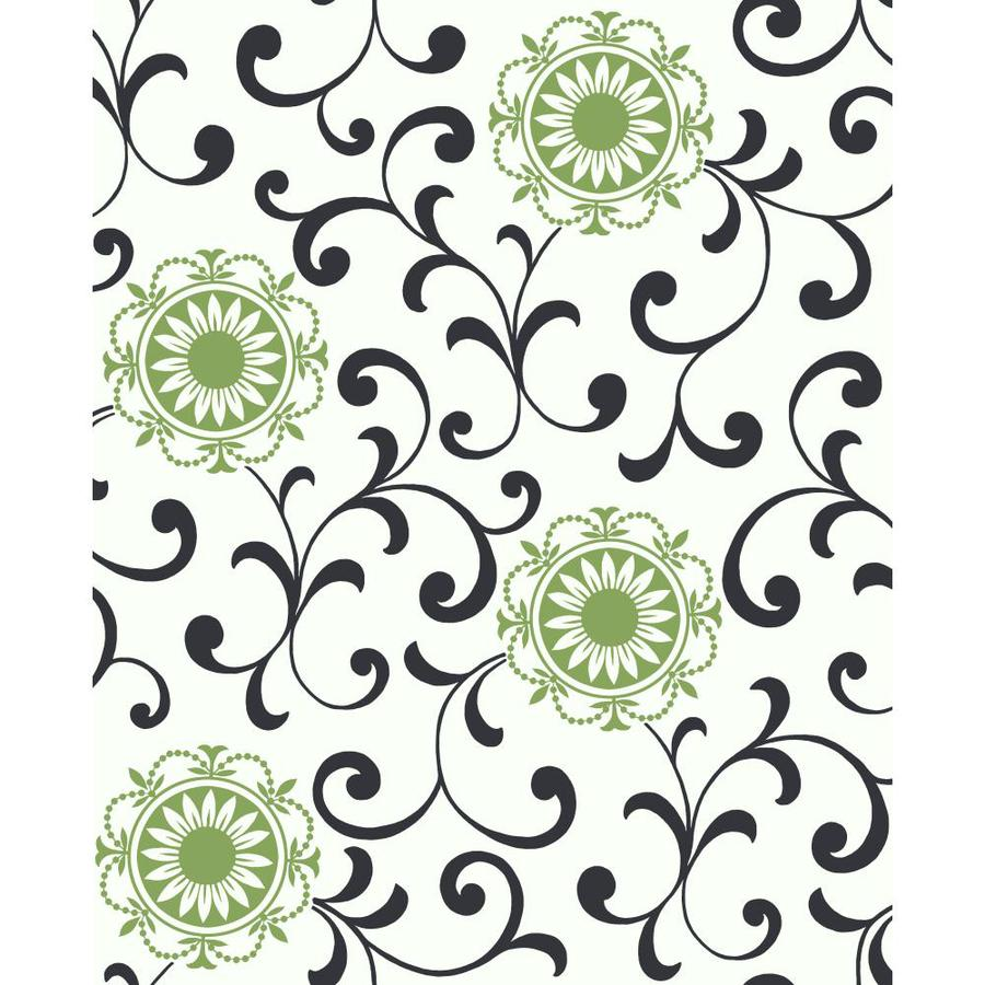 York Wallcoverings Ashford Sihouettes Black, White and Green Paper Abstract Wallpaper