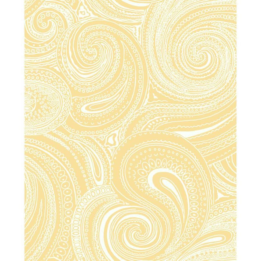 Inspired By Color Ashford Sihouettes Orange and White Paper Paisley Wallpaper