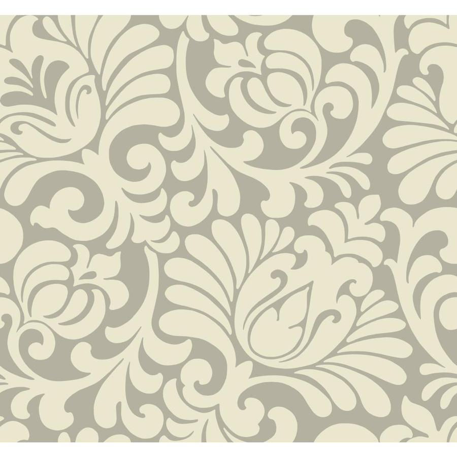 York Wallcoverings Ashford Sihouettes Almond Paper Damask Wallpaper