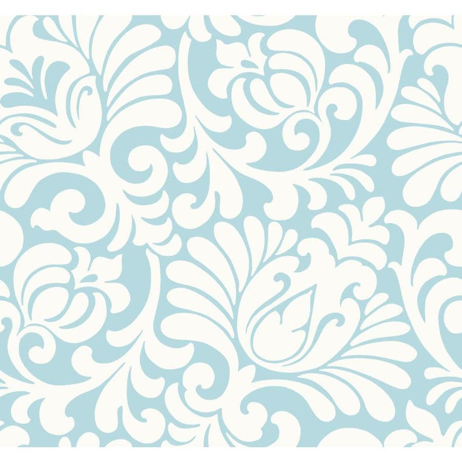Inspired By Color Blue and White Paper Damask Wallpaper
