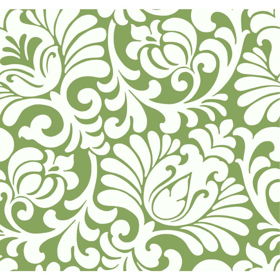 Inspired By Color Ashford Sihouettes Green and White Paper Damask Wallpaper