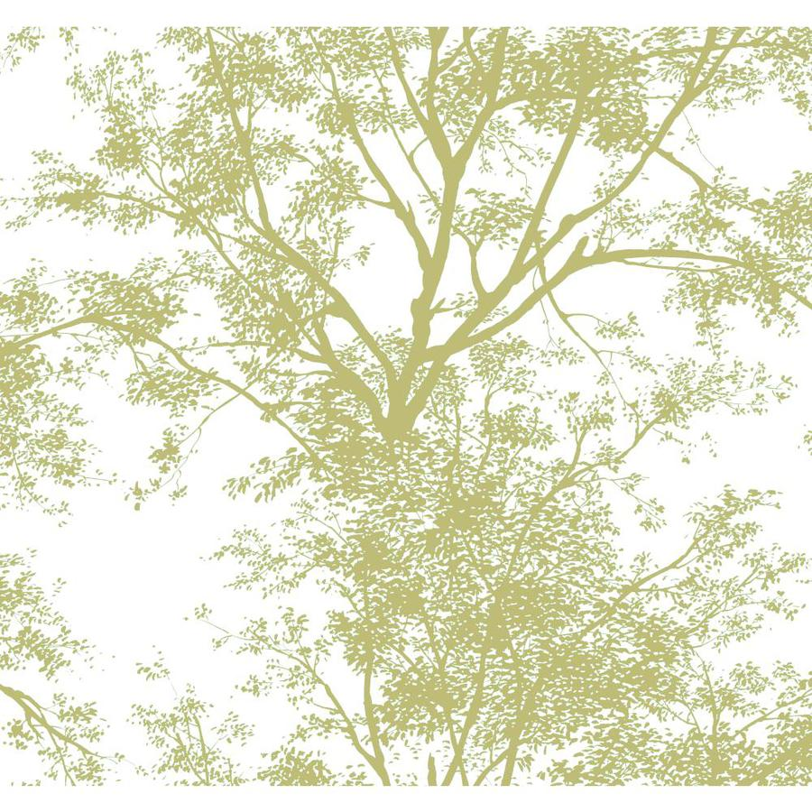 Inspired By Color Ashford Sihouettes Green and White Paper Scenic Wallpaper