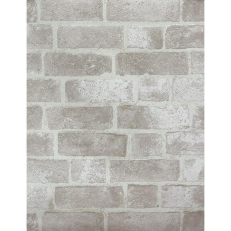 York Wallcoverings Modern Rustic Gray Brick Cement Off White Stone