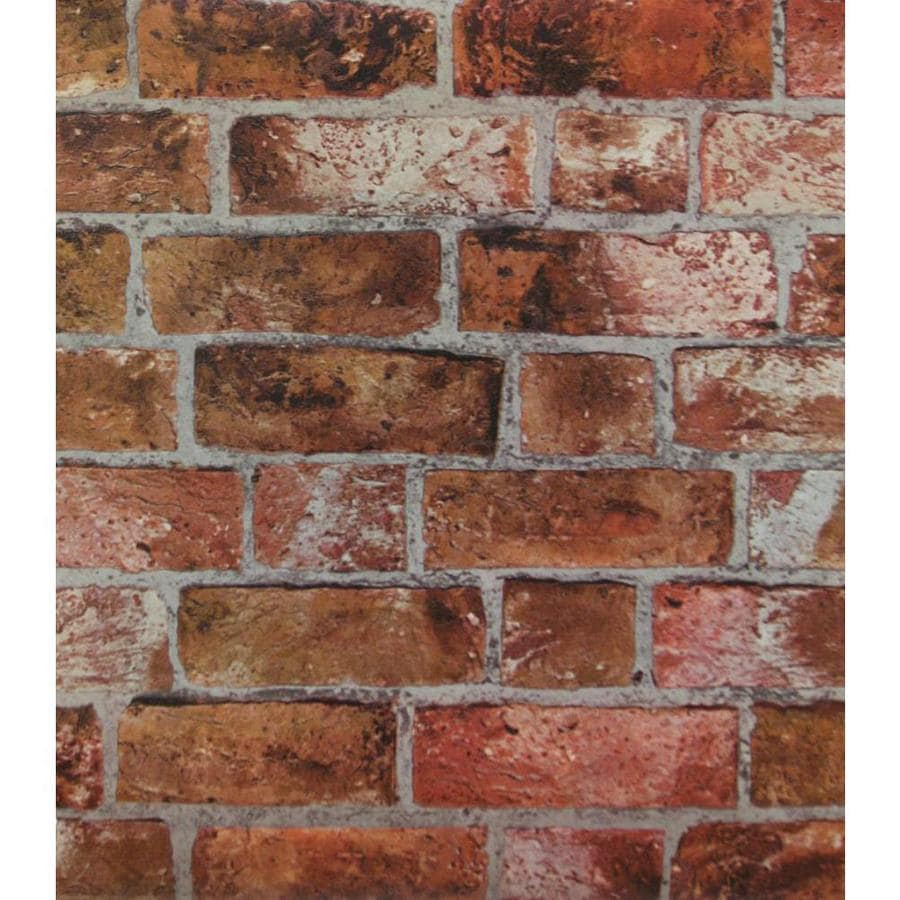 York Wallcoverings Modern Rustic Copper Red, Black, Brown, Stone, Brick and Cement Gray Vinyl Brick Wallpaper
