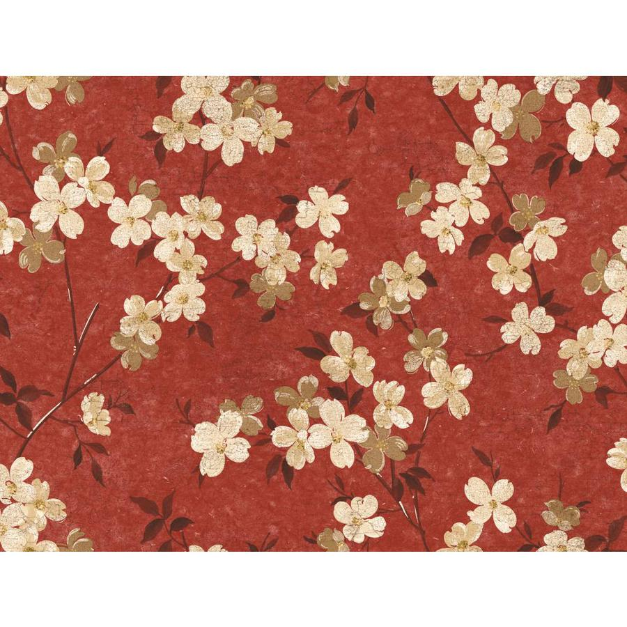 Inspired By Color Red Book Red, Ivory and Brown Paper Floral Wallpaper