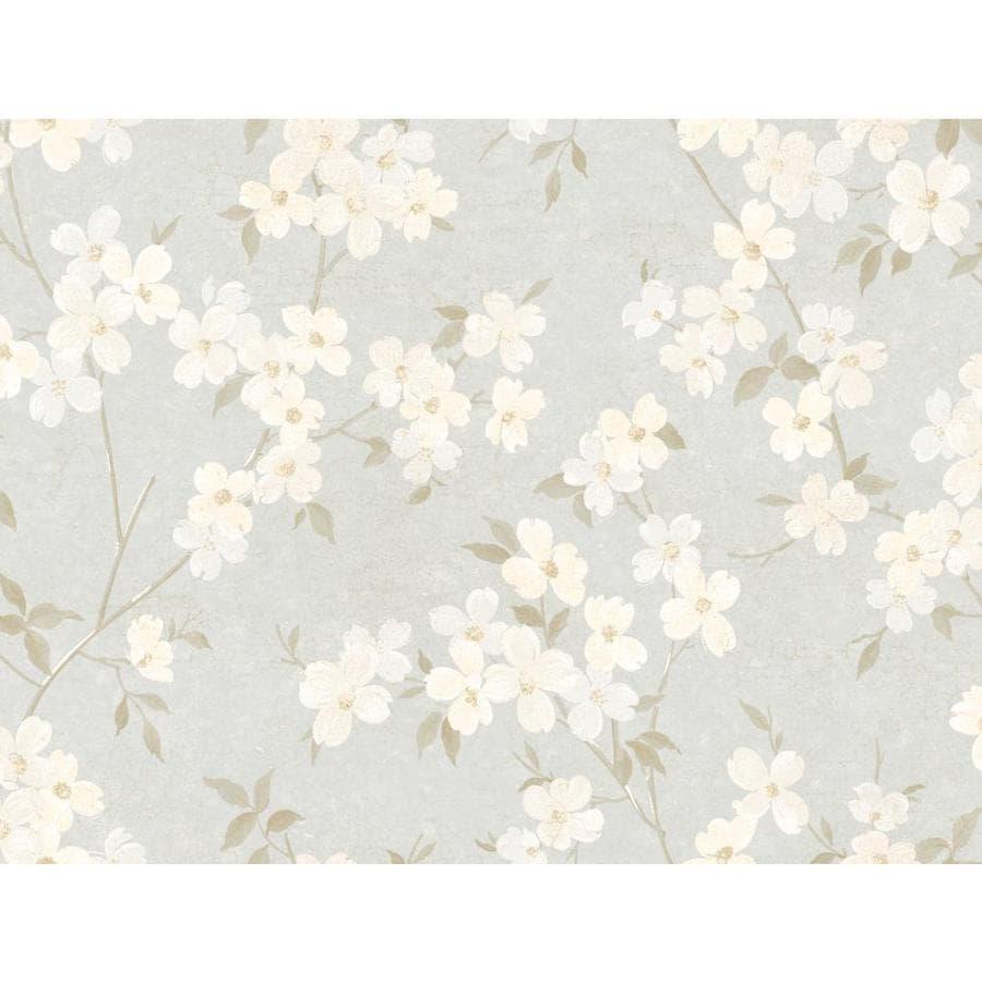 York Wallcoverings Beige, Cream, Blue Paper Floral Wallpaper