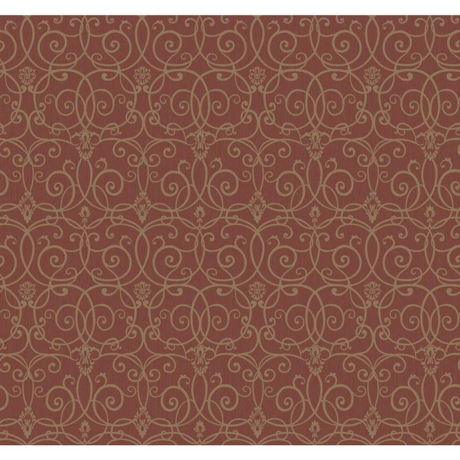 Inspired By Color Red Book Red, Gold and Brown Paper Scroll Wallpaper