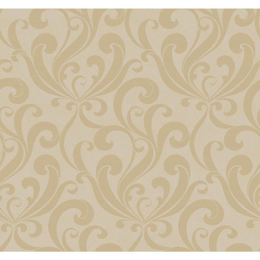 York Wallcoverings Beige Book Silver, Beige Paper Damask Wallpaper