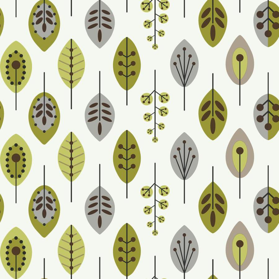 Inspired By Color Green Book Green, Gray and White Paper Floral Wallpaper
