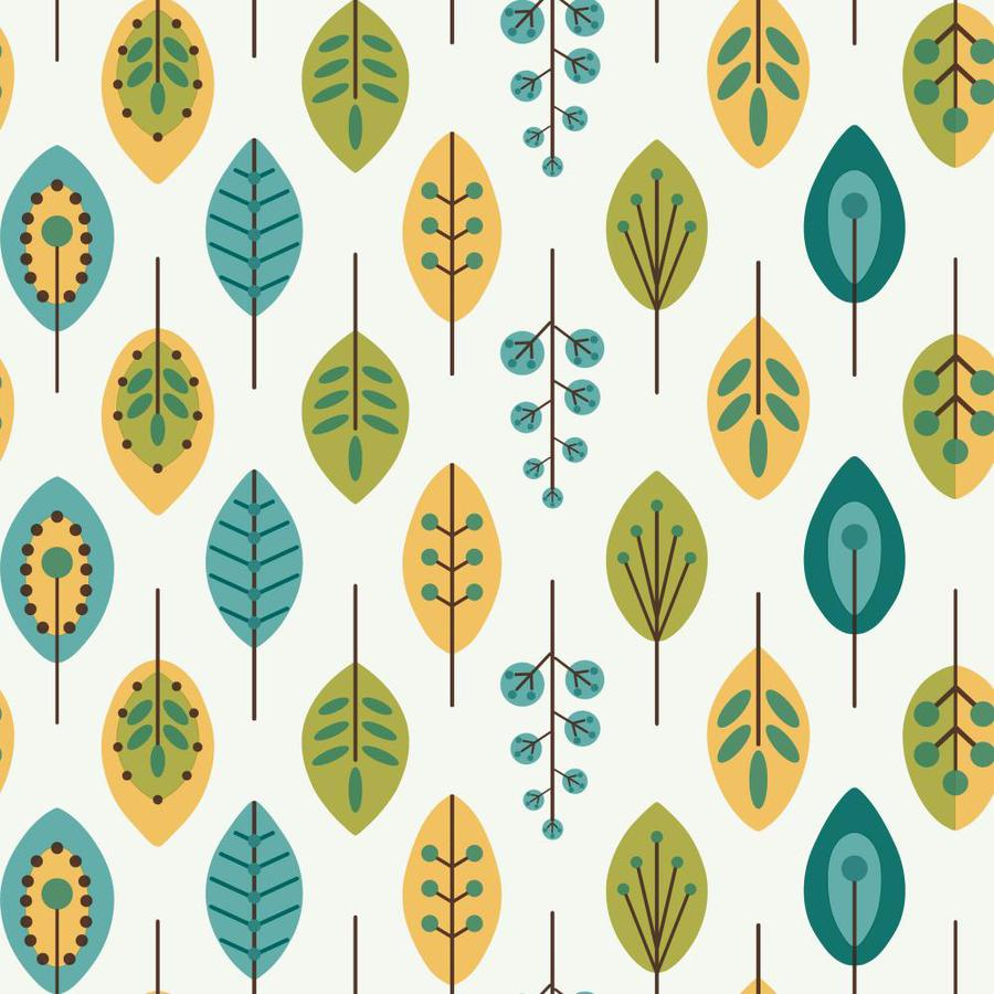 Inspired By Color Blue Book Blue, Green and Marigold Paper Textured Ivy/Vines Wallpaper