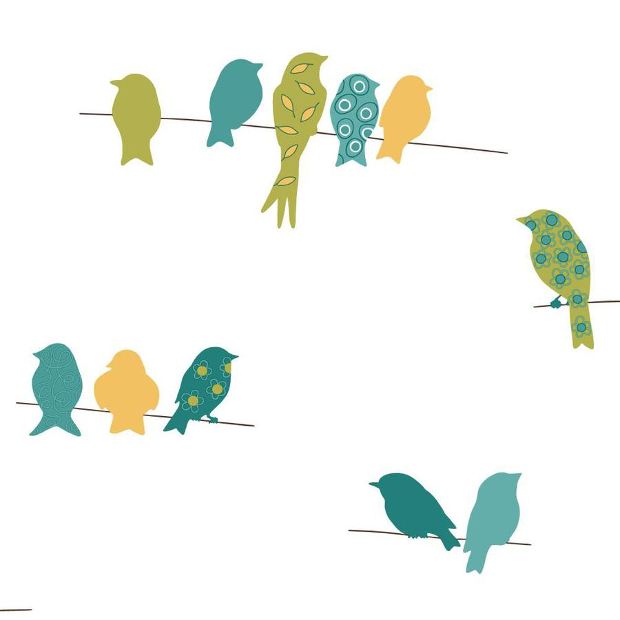 Inspired By Color Blue, Green and Marigold Paper Birds Wallpaper