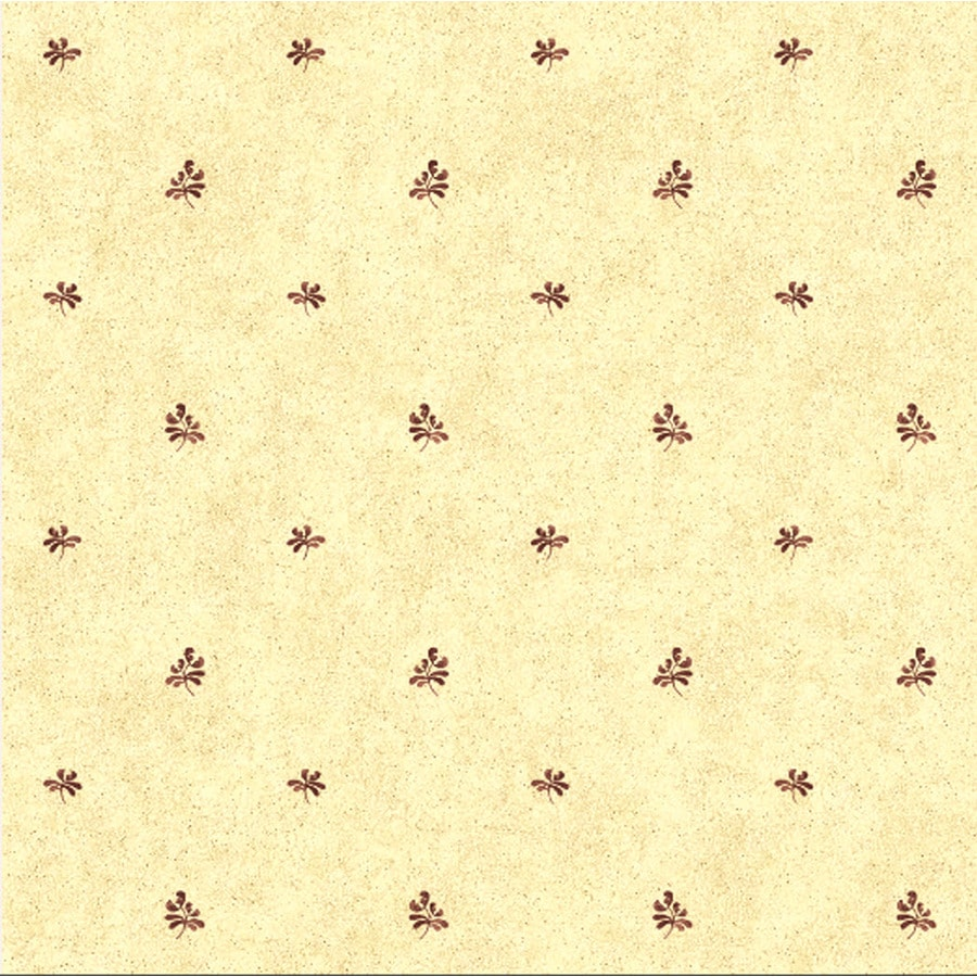 York Wallcoverings Cream Background/Burgundy Paper Geometric Wallpaper
