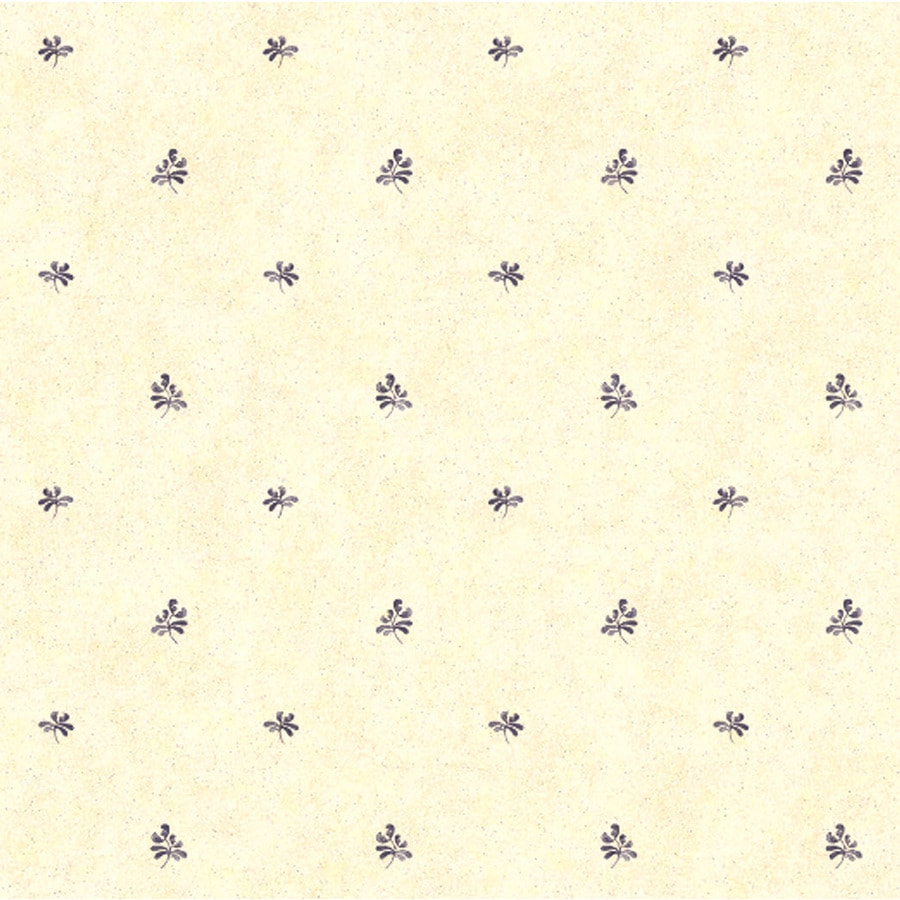 York Wallcoverings Country Keepsakes Cream Background/Blue Paper Geometric Wallpaper