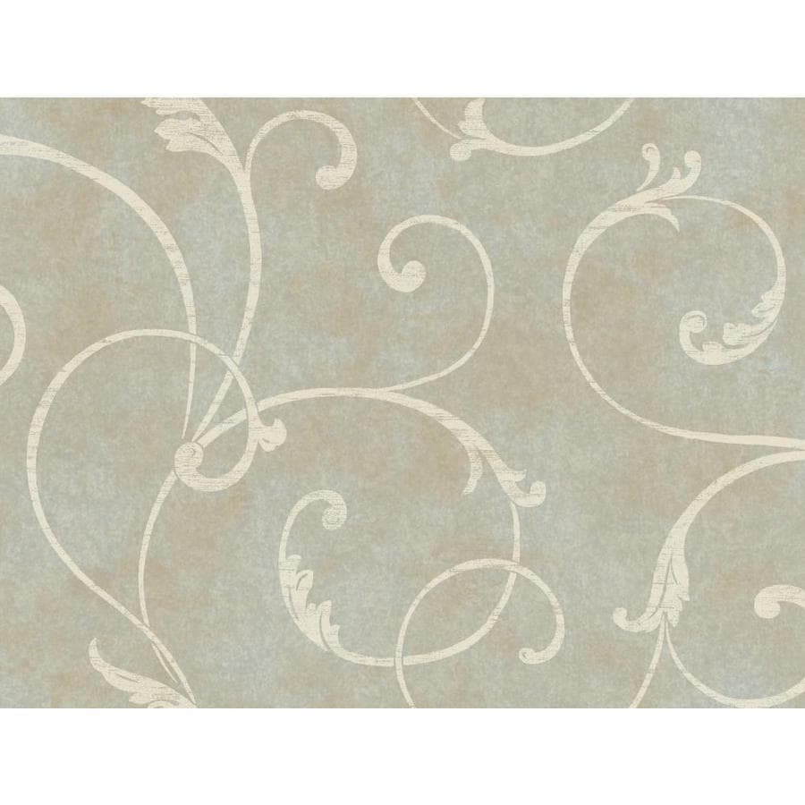 Inspired By Color Blue Book Blue and Ivory Paper Textured Scroll Wallpaper