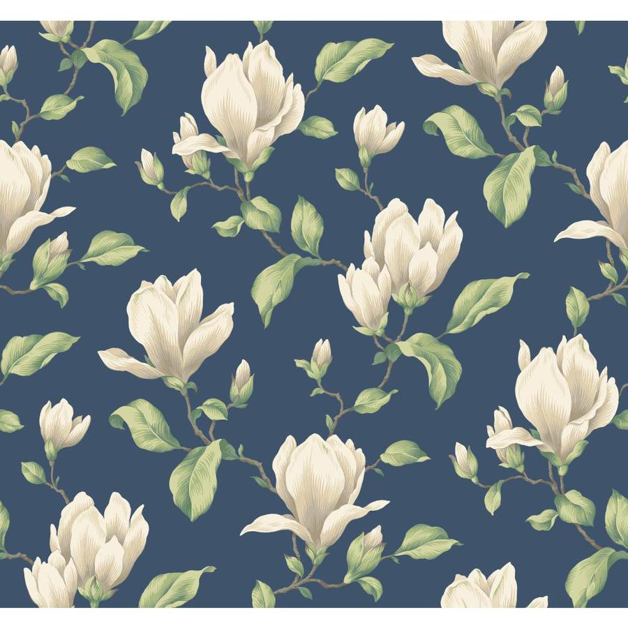 Inspired By Color Blue Book Navy and Cream Paper Textured Floral Wallpaper