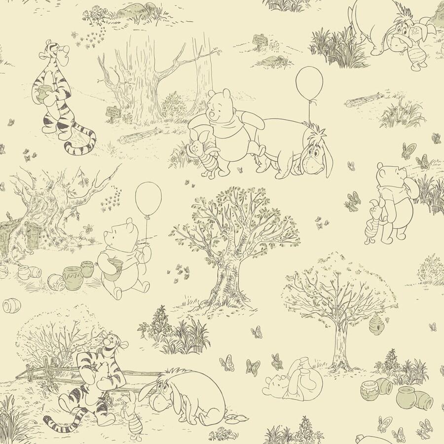 York Wallcoverings Kids Book Cream/Green Paper Toile Wallpaper