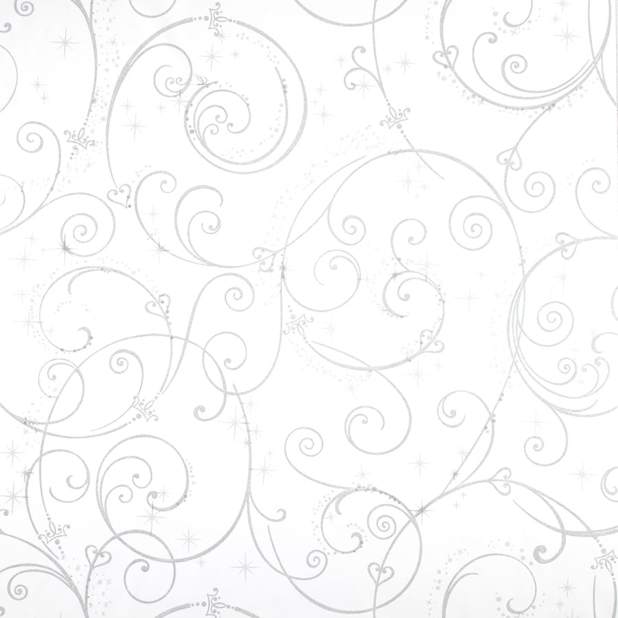 York Wallcoverings Disney Kids White with Glitter Paper Textured Scroll Wallpaper