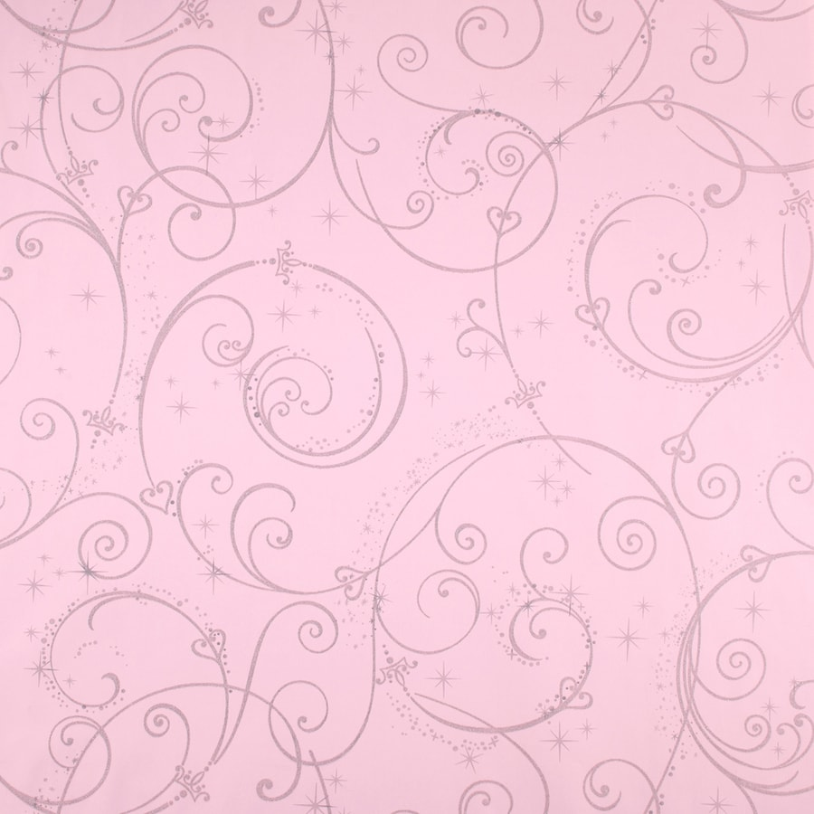 York Wallcoverings Kids Book Pink with Glitter Paper Textured Scroll Wallpaper