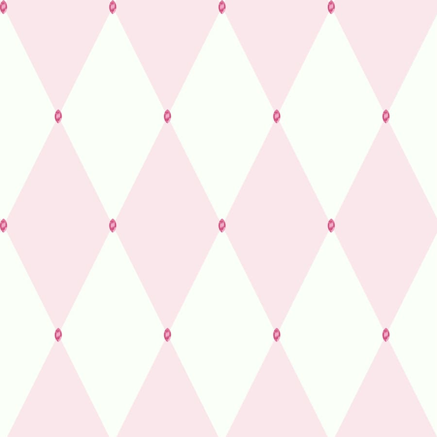 York Wallcoverings Pink/White with Pink Gems Paper Wallpaper