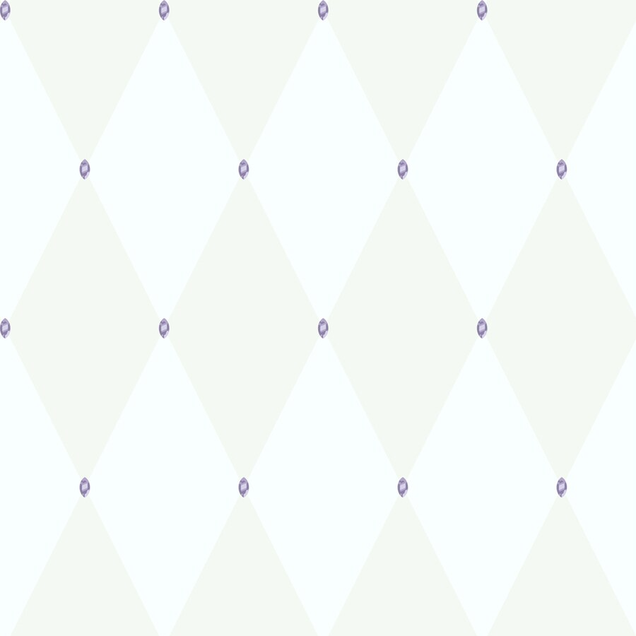 York Wallcoverings White with Purple Gems Paper Wallpaper