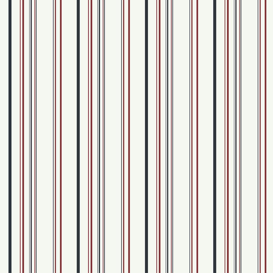 York Wallcoverings Kids Book White/Black/Red Paper Stripes Wallpaper