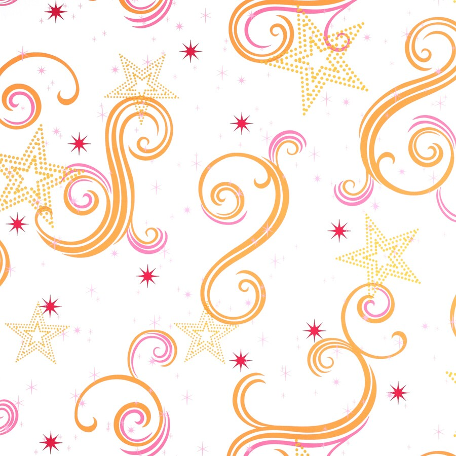 York Wallcoverings Disney Kids White/Pink/Orange with Glitter Paper Geometric Wallpaper